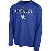 Nike Youth Kentucky Wildcats Blue Hook Dri-FIT Legend Long Sleeve Basketball T-Shirt
