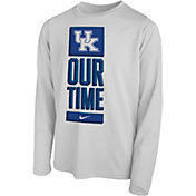 Nike Youth Kentucky Wildcats 'Our Time' Bench Long Sleeve White T-Shirt