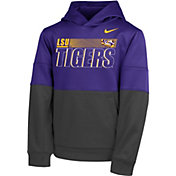 Nike Youth LSU Tigers Purple Therma Color Block Pullover Hoodie