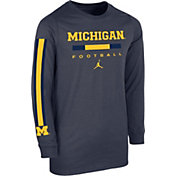 Jordan Youth Michigan Wolverines Blue Core Long Sleeve Cotton Football T-Shirt