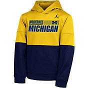 Nike Youth Michigan Wolverines Maize Therma Color Block Pullover Hoodie