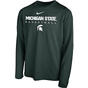 Nike Youth Michigan State Spartans Green Hook Dri-FIT Legend Long Sleeve Basketball T-Shirt