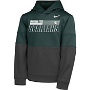 Nike Youth Michigan State Spartans Green Therma Color Block Pullover Hoodie