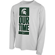 Nike Youth Michigan State Spartans 'Our Time' Bench Long Sleeve White T-Shirt