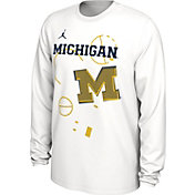 Jordan Youth Michigan Wolverines Bench Long Sleeve White T-Shirt