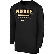 Nike Youth Purdue Boilermakers Dri-FIT Wordmark Long Sleeve Black T-Shirt