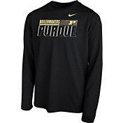 Nike Youth Purdue Boilermakers Legend Long Sleeve Performance Black T-Shirt