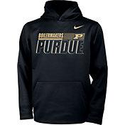 Nike Youth Purdue Boilermakers Therma Pullover Black Hoodie