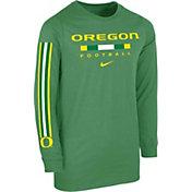 Nike Youth Oregon Ducks Green Core Long Sleeve Cotton Football T-Shirt