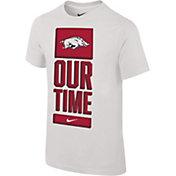 Nike Youth Arkansas Razorbacks 'Our Time' Bench White T-Shirt