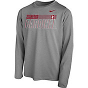 Nike Youth Stanford Cardinal Grey Legend Long Sleeve Performance T-Shirt