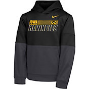 Nike Youth Iowa Hawkeyes Therma Color Block Pullover Black Hoodie