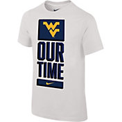 Nike Youth West Virginia Mountaineers 'Our Time' Bench White T-Shirt