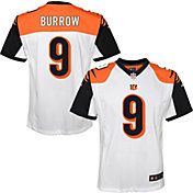 NFL Team Apparel Youth Replica Cincinnati Bengals Joe Burrow #9 White Jersey