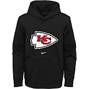 Nike Youth Kansas City Chiefs Sideline Therma-FIT Black Pullover Hoodie