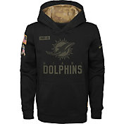 Nike Youth Salute to Service Miami Dolphins Black Therma-FIT Pullover Hoodie