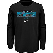 NFL Team Apparel Youth Carolina Panthers Black Cotton Long Sleeve T-Shirt