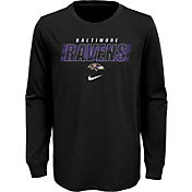 NFL Team Apparel Youth Baltimore Ravens Black Cotton Long Sleeve T-Shirt