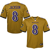 Nike Youth Baltimore Ravens Lamar Jackson #8 Gold Game Jersey