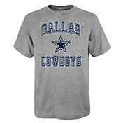 NFL Team Apparel Boys' Dallas Cowboys Chiseled Heather Grey T-Shirt