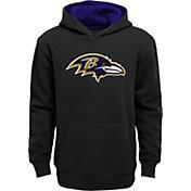 NFL Team Apparel Boys' Baltimore Ravens Prime Black Pullover Hoodie