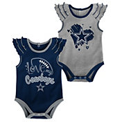 NFL Team Apparel Infant Girls' Dallas Cowboys Touchdown 2-Pack Bodysuit