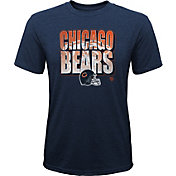 NFL Team Apparel Youth Chicago Bears Stack Tri-Blend Navy T-Shirt