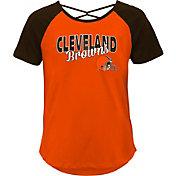 Outerstuff Youth Girls' Cleveland Browns Orange Criss-Cross Back T-Shirt