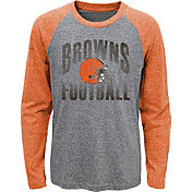 NFL Team Apparel Youth Cleveland Browns 'Go For It' Tri-Blend Grey Long Sleeve Shirt