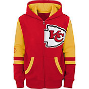 NFL Team Apparel Youth Kansas City Chiefs Color Block Full-Zip Hoodie