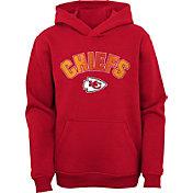 NFL Team Apparel Youth Kansas City Chiefs Red Defense Pullover Gaiter Hoodie