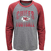NFL Team Apparel Youth Kansas City Chiefs 'Go For It' Tri-Blend Grey Long Sleeve Shirt
