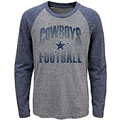 Dallas Cowboys Merchandising Youth Grey/Navy Go 4 It Tri-Blend Long Sleeve T-Shirt