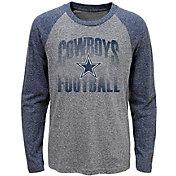 Dallas Cowboys Merchandising Youth Grey/Navy Go 4 It Tri-Blend Long Sleeve T-Shirt