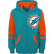NFL Team Apparel Youth Miami Dolphins Color Block Full-Zip Hoodie