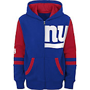 NFL Team Apparel Youth New York Giants Color Block Full-Zip Hoodie