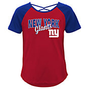 Outerstuff Youth Girls' New York Giants Red Criss-Cross Back T-Shirt