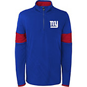 NFL Team Apparel Youth New York Giants Yard Line Royal Quarter-Zip