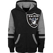 NFL Team Apparel Youth Las Vegas Raiders Color Block Full-Zip Hoodie