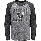 NFL Team Apparel Youth Las Vegas Raiders 'Go For It' Tri-Blend Grey Long Sleeve Shirt