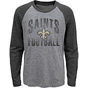 NFL Team Apparel Youth New Orleans Saints 'Go For It' Tri-Blend Grey Long Sleeve Shirt
