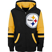 NFL Team Apparel Youth Pittsburgh Steelers Color Block Full-Zip Hoodie
