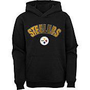 NFL Team Apparel Youth Pittsburgh Steelers Black Defense Pullover Gaiter Hoodie