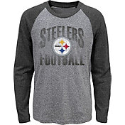 NFL Team Apparel Youth Pittsburgh Steelers 'Go For It' Tri-Blend Grey Long Sleeve Shirt