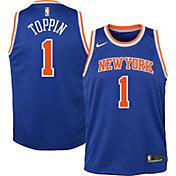 Nike Youth New York Knicks Obi Toppin #1 Blue Dri-FIT Swingman Jersey