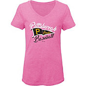 Gen2 Youth Girls' Pittsburgh Pirates Pink Fly the Flag V-Neck T-Shirt