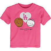Gen2 Youth Toddler Girl's Los Angeles Dodgers Pink 'Glove at First Sight' T-Shirt