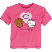 Gen2 Youth Toddler Girl's Cincinnati Reds Pink 'Glove at First Sight' T-Shirt