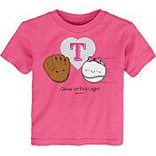 Gen2 Youth Toddler Girl's Texas Rangers Pink 'Glove at First Sight' T-Shirt