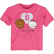 Gen2 Youth Toddler Girl's Detroit Tigers Pink 'Glove at First Sight' T-Shirt